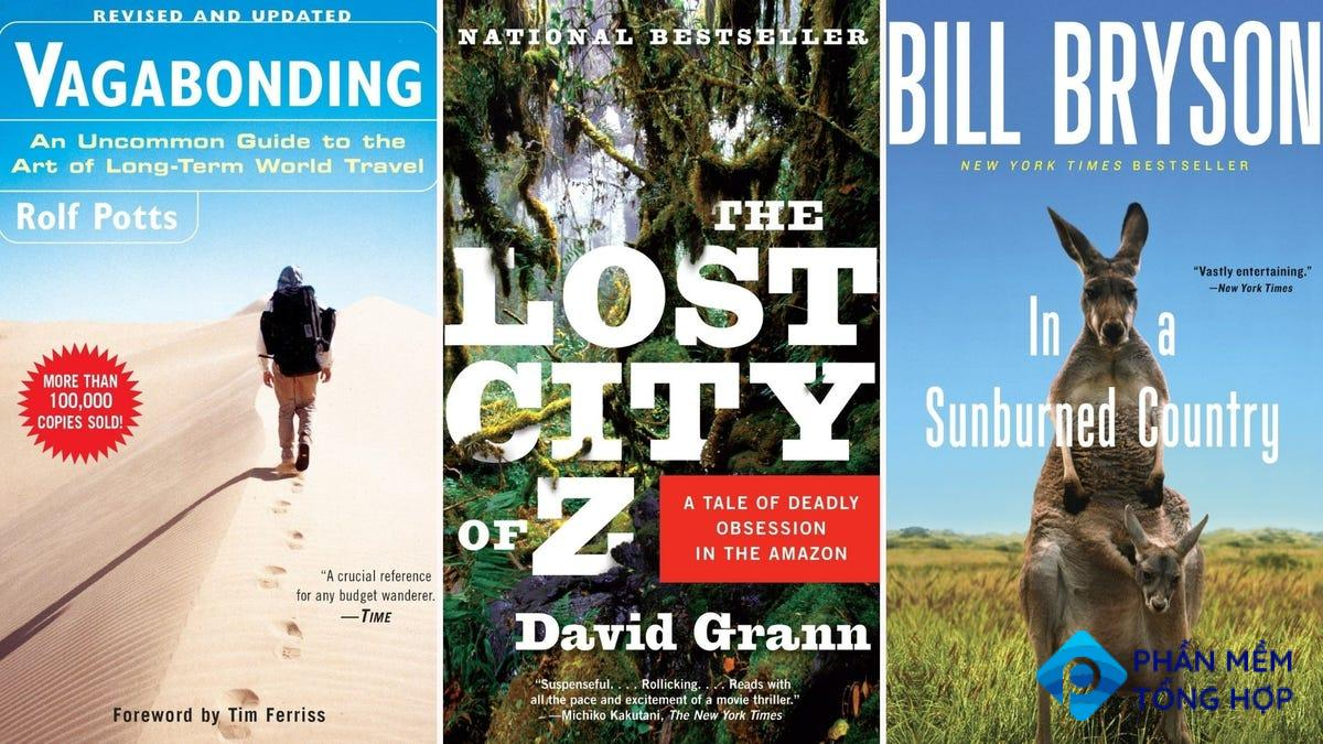 """The covers of various travelogue books including """"The Lost City of Z"""" by David Grann."""
