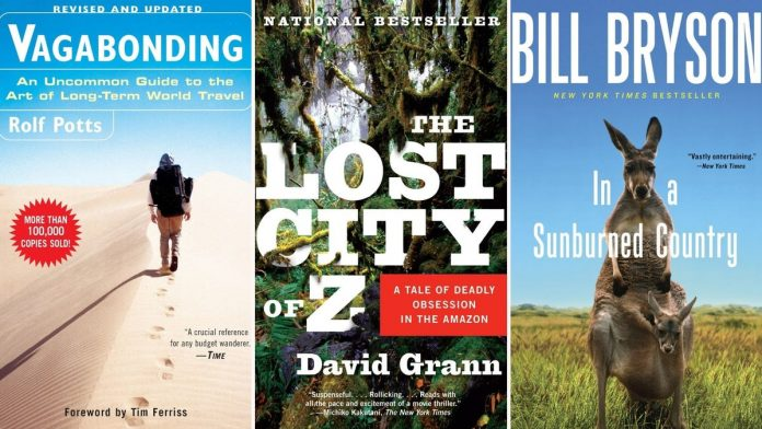 The covers of various travelogue books including