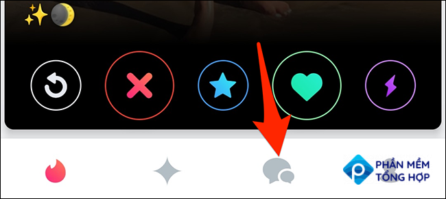Tap the chats tab in the Tinder app.