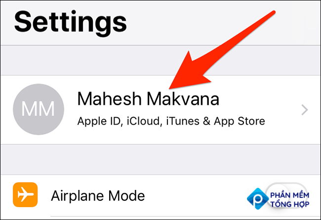 Tap the account name in the Settings app on an iPhone.