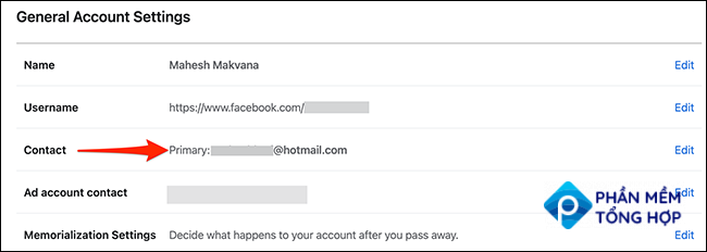 """The """"General Account Settings"""" page on Facebook."""