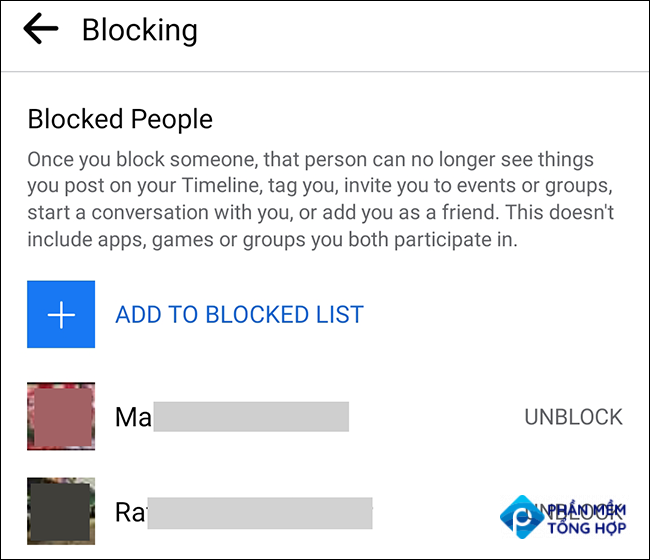 """Tap """"Unblock"""" to unblock a user in the Facebook app."""