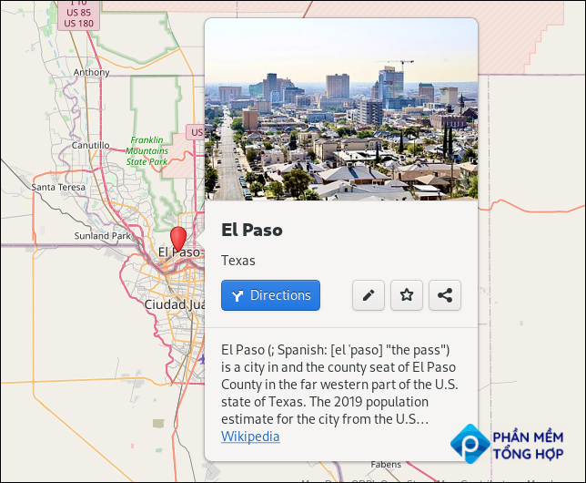 Information panel in the Maps application