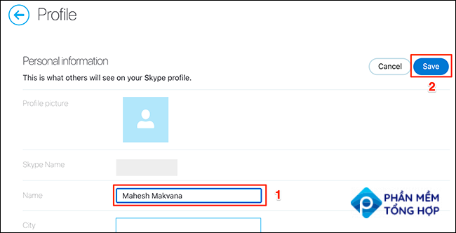 """Enter a new display name in the """"Name"""" field and click """"Save"""" on the Skype site."""