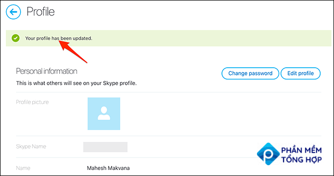 A success message on the Skype site.