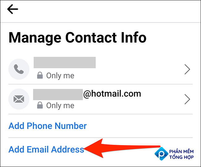 """Tap """"Add Email Address"""" on the """"Manage Contact Info"""" screen in Facebook."""