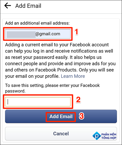 """Enter an email and password on the """"Add Email"""" screen in Facebook."""