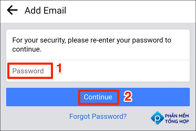 """Enter the Facebook password and tap """"Continue."""""""