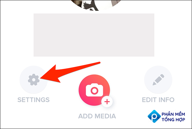 """Select """"Settings"""" in the profile menu of the Tinder app."""