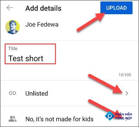 """Fill in the Short details and """"Upload."""""""