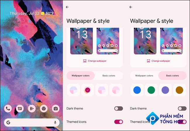 Android 12 color choices.