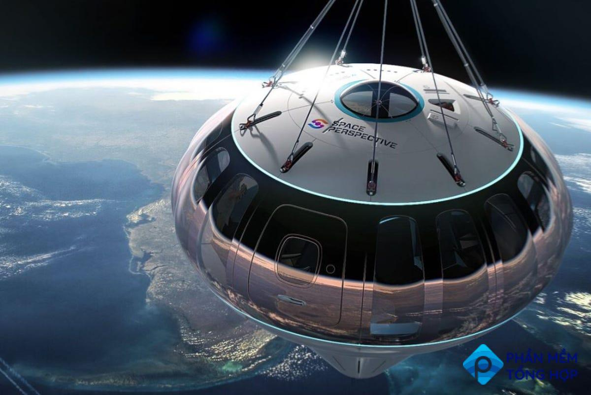 A Space Perspective Capsule above Earth.