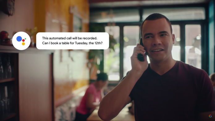A resturant owner pickig up a call from Google Duplex.