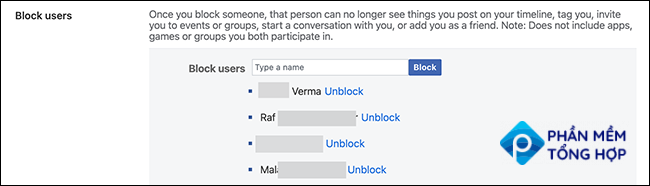 """Click """"Unblock"""" to unblock a user on the Facebook site."""