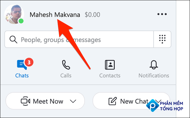 Newly specified display name in the Skype app.