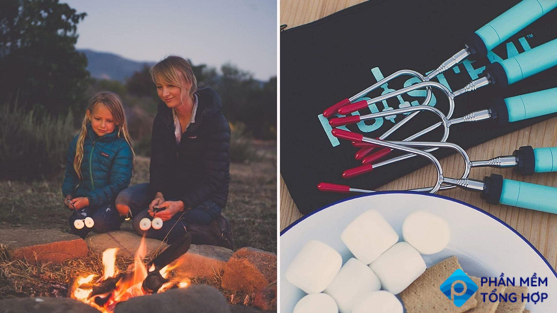 Two images featuring the Jolly Green telescoping marshmallow sticks. The left images features a woman and her daughter using the sticks to roast marshmallows, and the right image features the package of sticks alongside of a plate of all the fixings for s'mores.