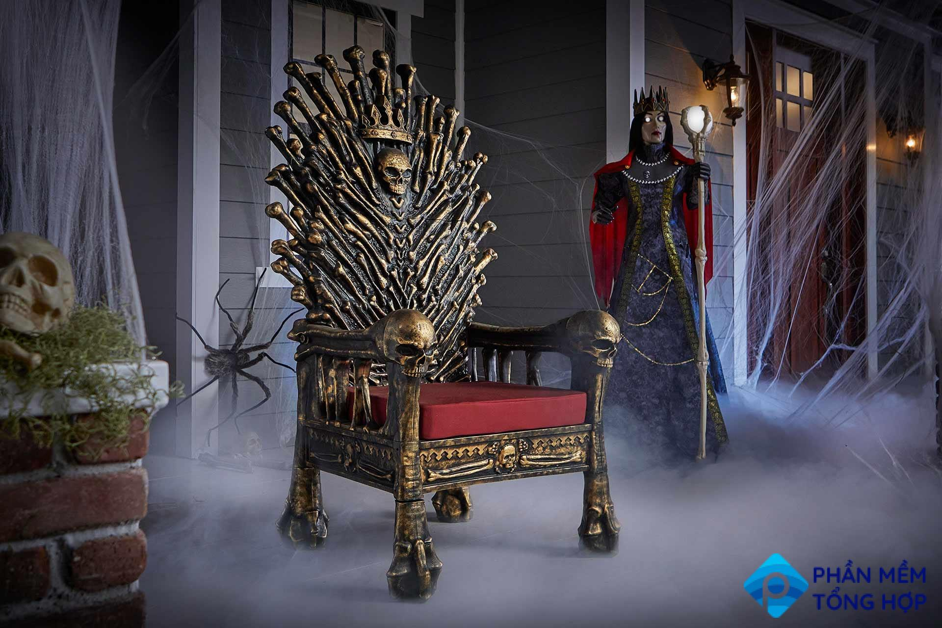 A life-size throne with golden bone details and a red cushion.
