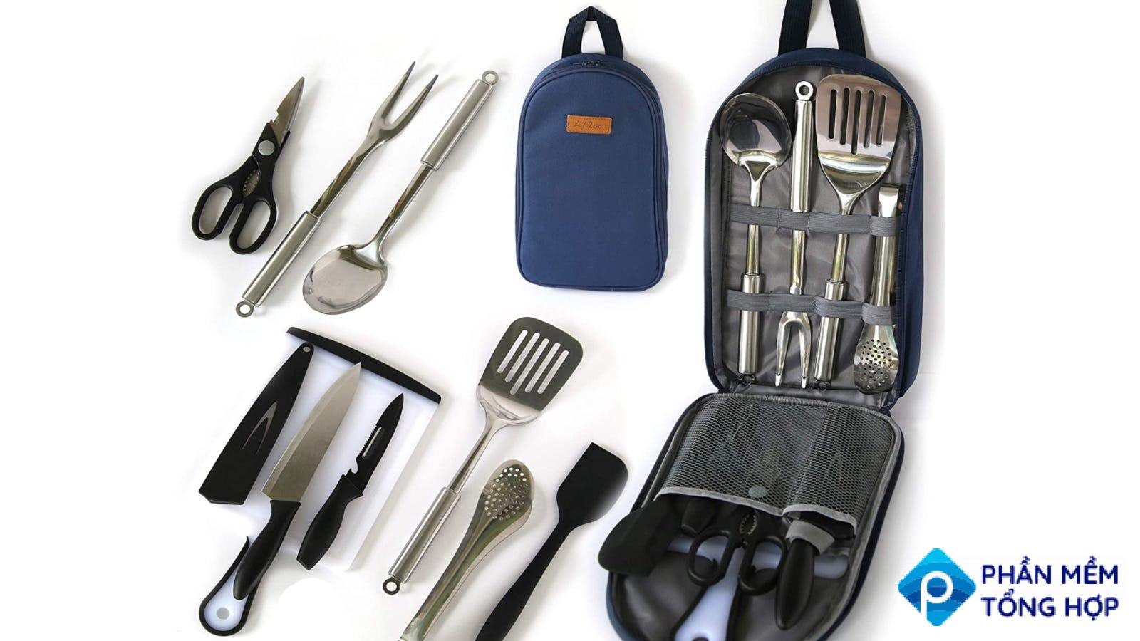 An image displaying all the components of the Life 2 Go Cooking Utensils set on a white backdrop.