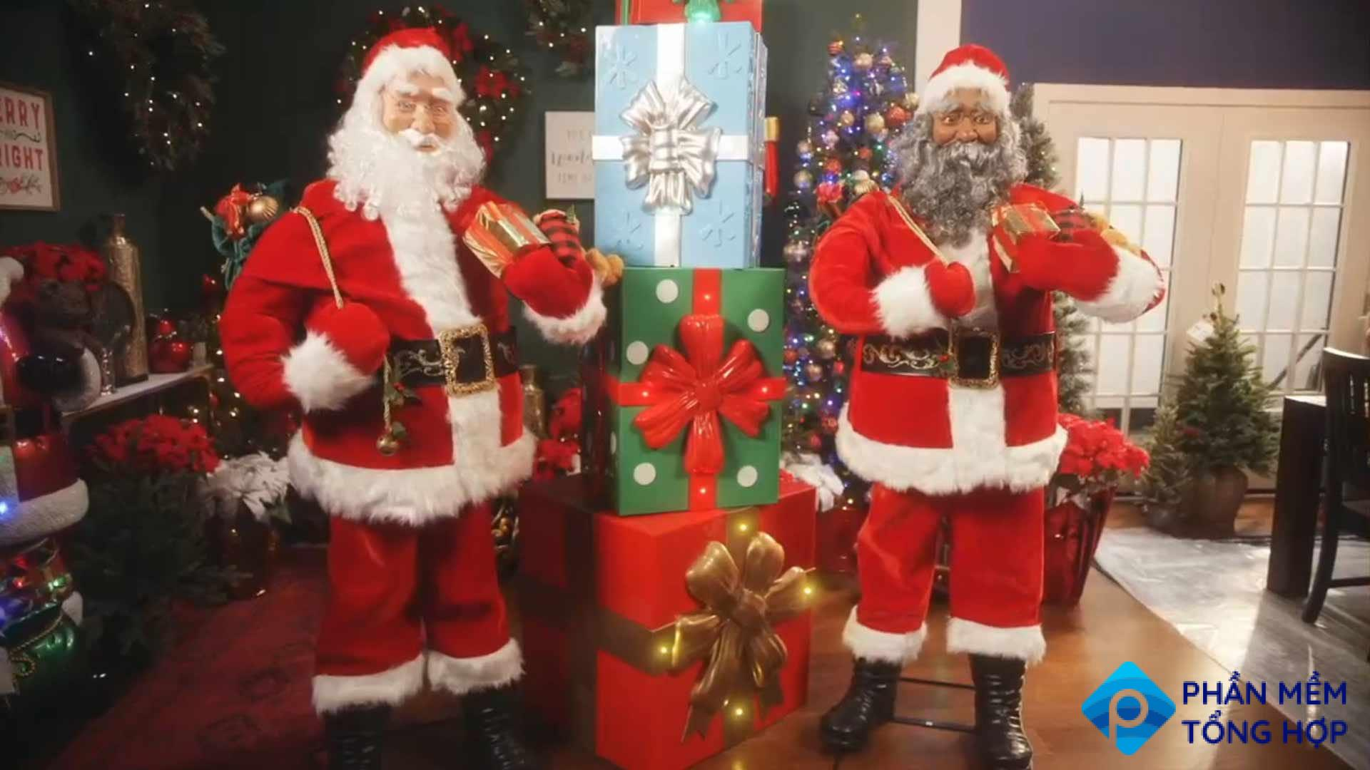 A festive room decorated with life-size Santa Clauses.