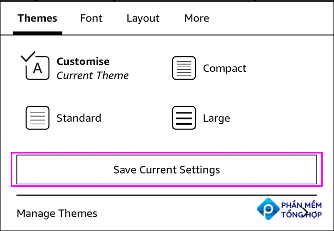 Tap Save Current Settings to create a custom theme in Kindle