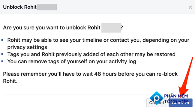 """Select """"Confirm"""" to confirm the unblock action on the Facebook site."""