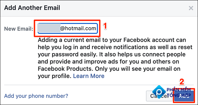 """Type an email address in the """"Add Another Email"""" window on Facebook."""