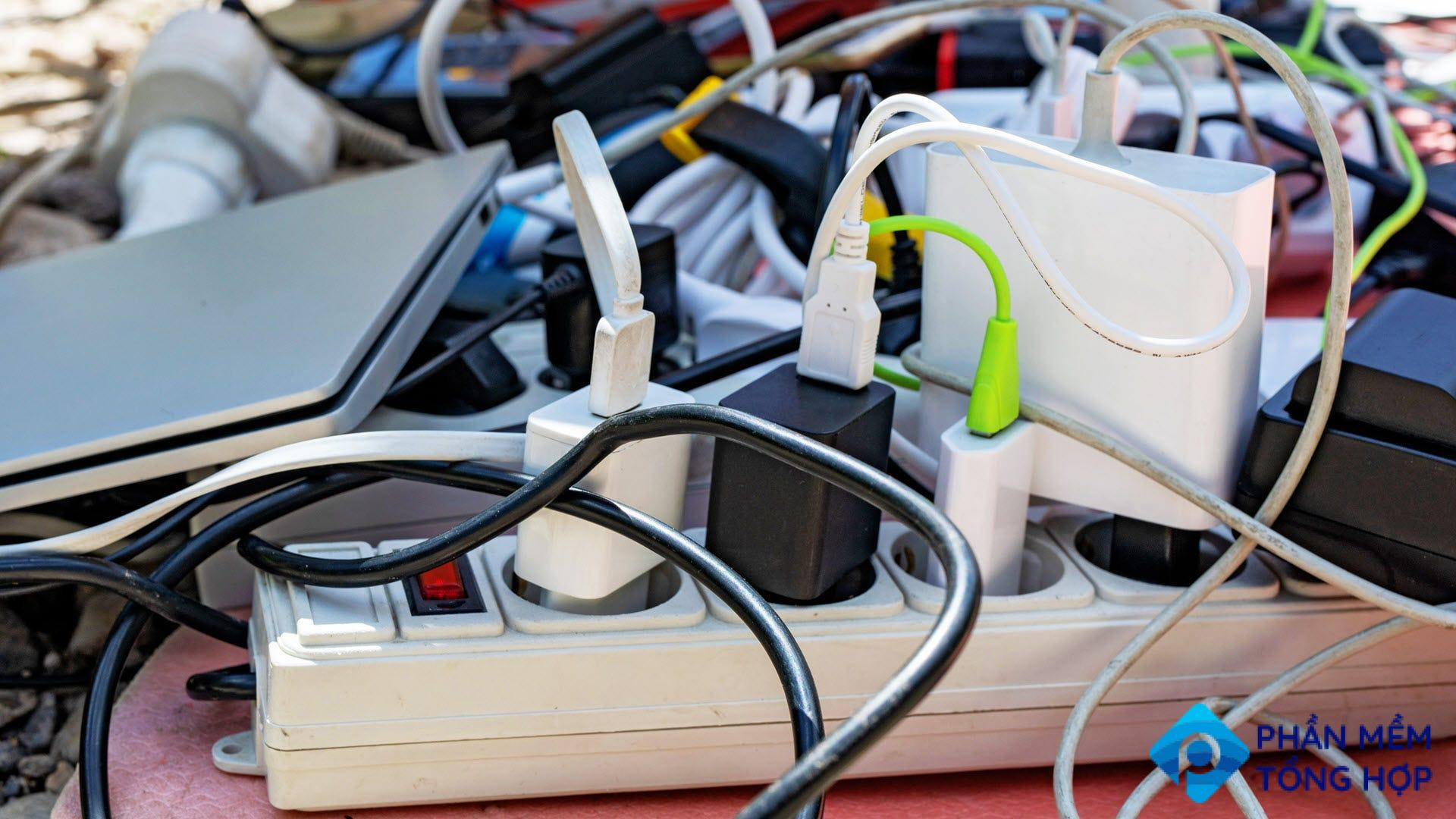 A tangled mess of wires and electronics