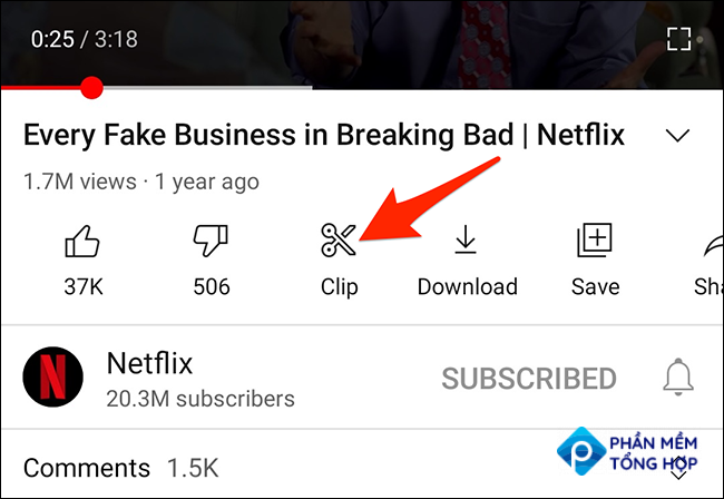 """Tap """"Clip"""" on a video page in the YouTube app."""