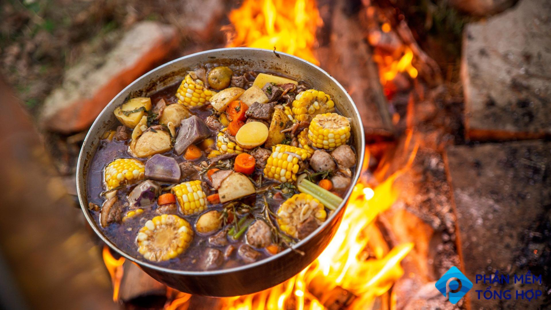 A pot of beef and veggie stew cooking over a campfire.