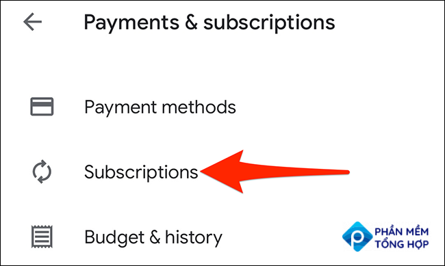 """Select """"Subscriptions"""" in the Google Play Store."""
