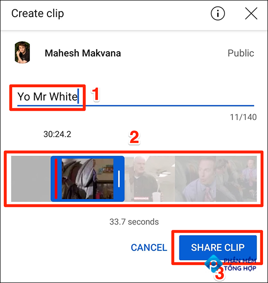 """Make a clip with the """"Create Clip"""" panel in the YouTube app."""