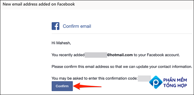"""Click """"Confirm"""" in Facebook's confirmation email."""