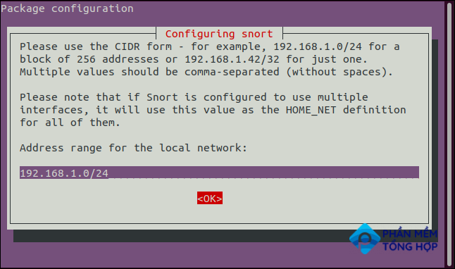 providing the network details in CIDR notation in a terminal windwo