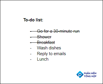 A to-do list with stikethrough applied to the first three items on the list.