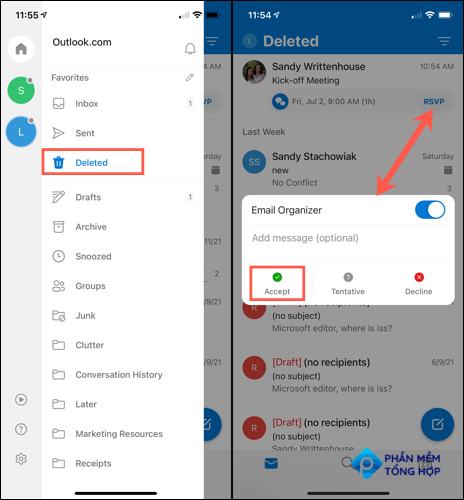 Tap to Accept a declined in Outlook mobile