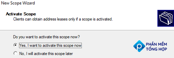 activate dhcp scope