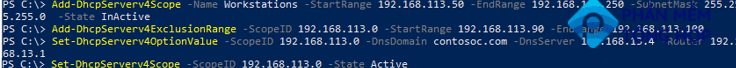 Add-DhcpServerv4Scope - create and configure new dhcp scope using PowerShell