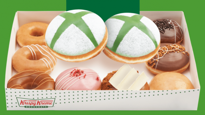 Box of Xbox donuts and other treats from Krispy Kreme