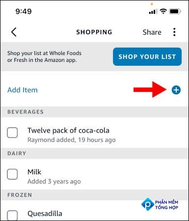 Adding a shopping item in the Alexa app.