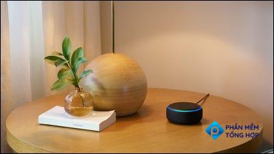 Echo Dot sitting on table.