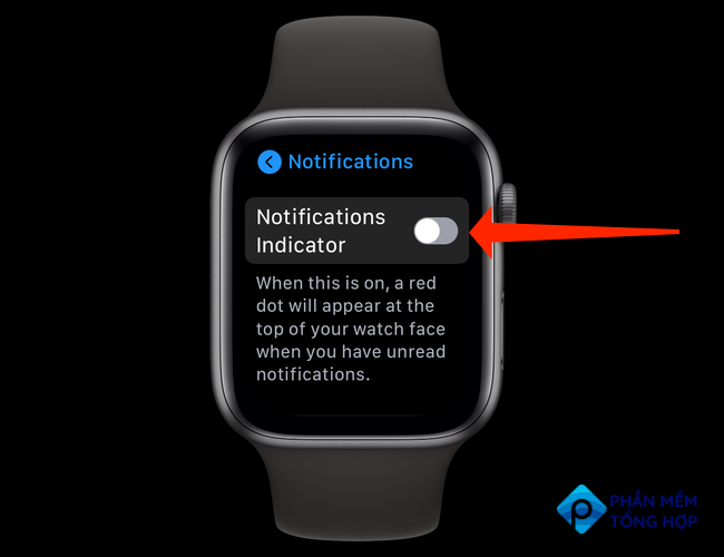 """Toggle the switch next to """"Notifications Indicator"""" to off to hide the red dot on your Apple Watch."""