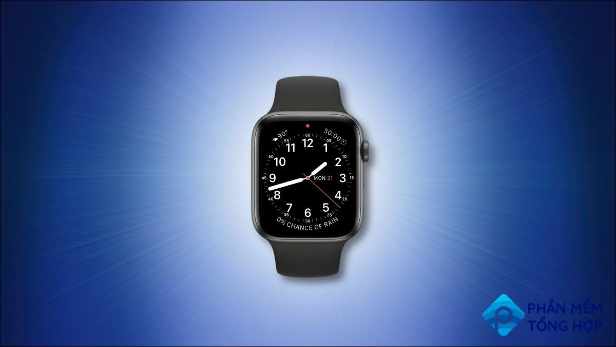 Apple Watch with red notification dot on a blue background