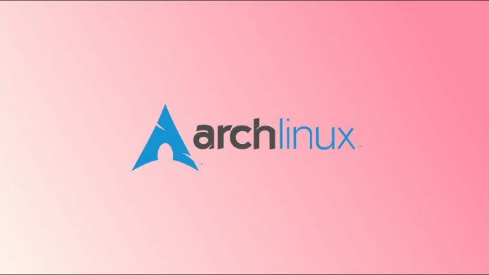 Arch Linux logo on a pink and white gradient