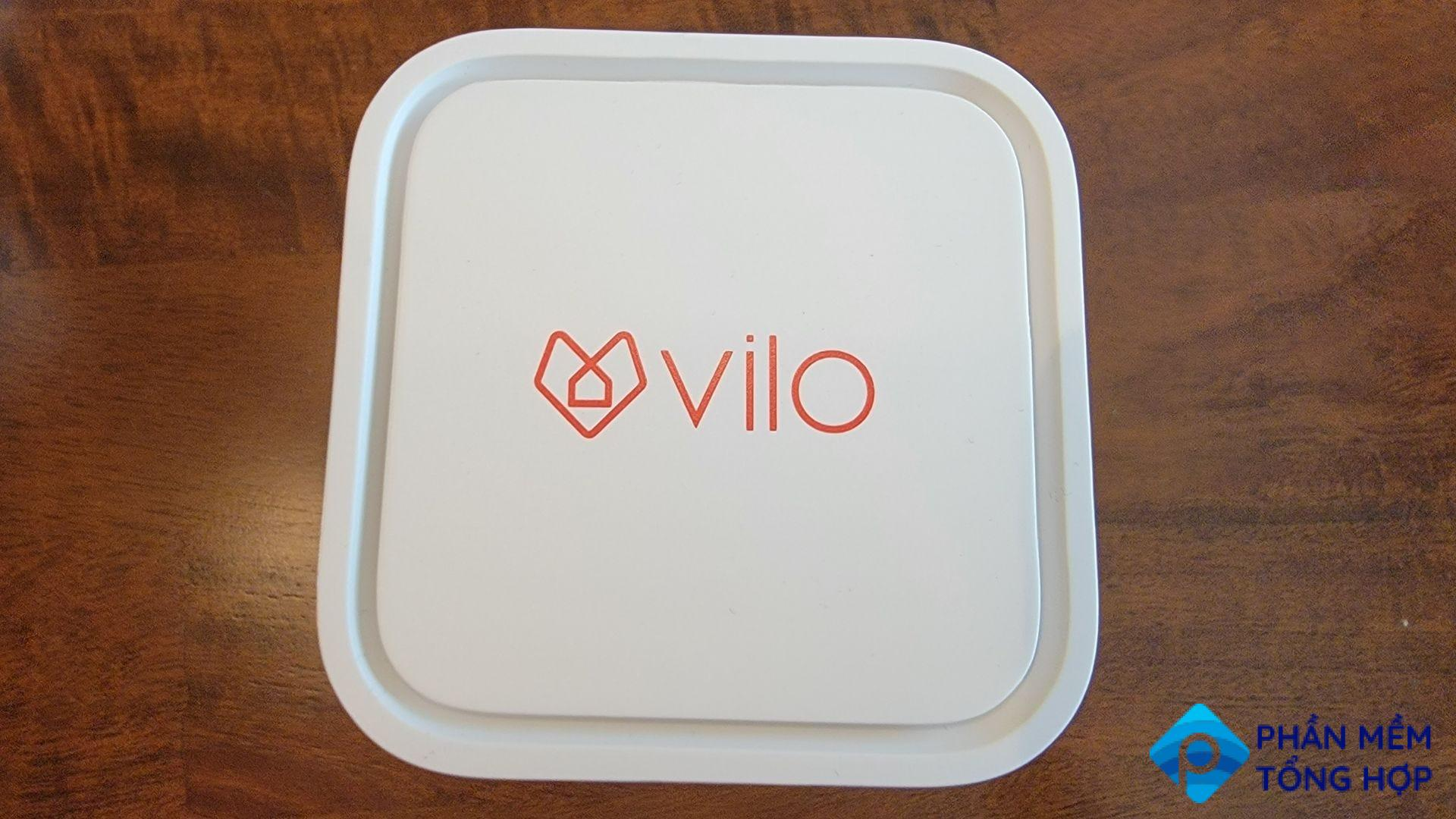 the top of a mesh wifi vilo unit showing off the logo