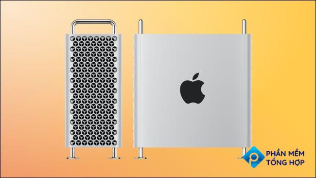 Mac pro side and front on yellow background