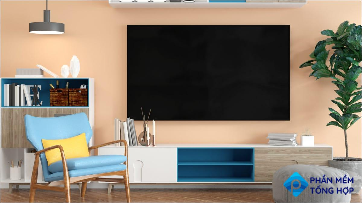 bright living room with mounted TV