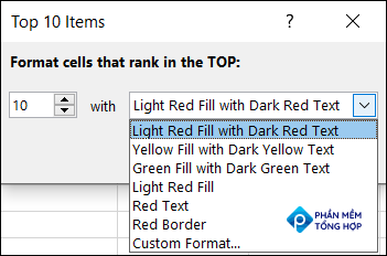 Click the drop-down to choose a different format