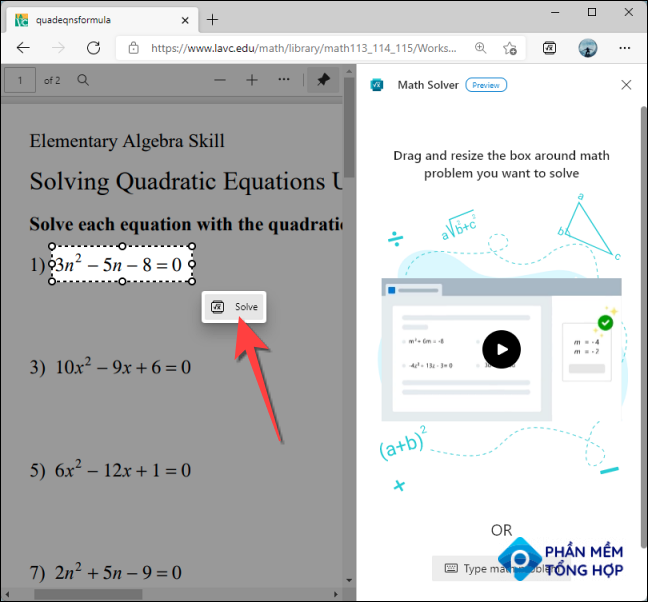 """Select the formula you want to solve and click the """"Solve"""" button the pops out."""