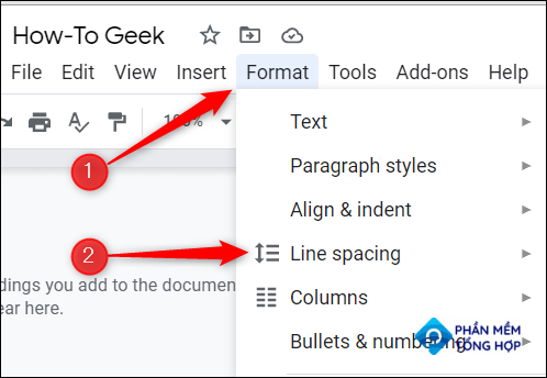 """Click """"Format"""" and hover your cursor over """"Line Spacing."""""""