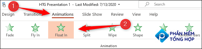 """Click the """"Animations"""" tab and then choose an animation from the """"Animation"""" group."""